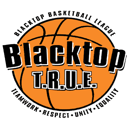 Orange basketball logo with black text that reads Blacktop Basketball League Blacktop T.R.U.E. Teamwork - Respect - Unity - Equality